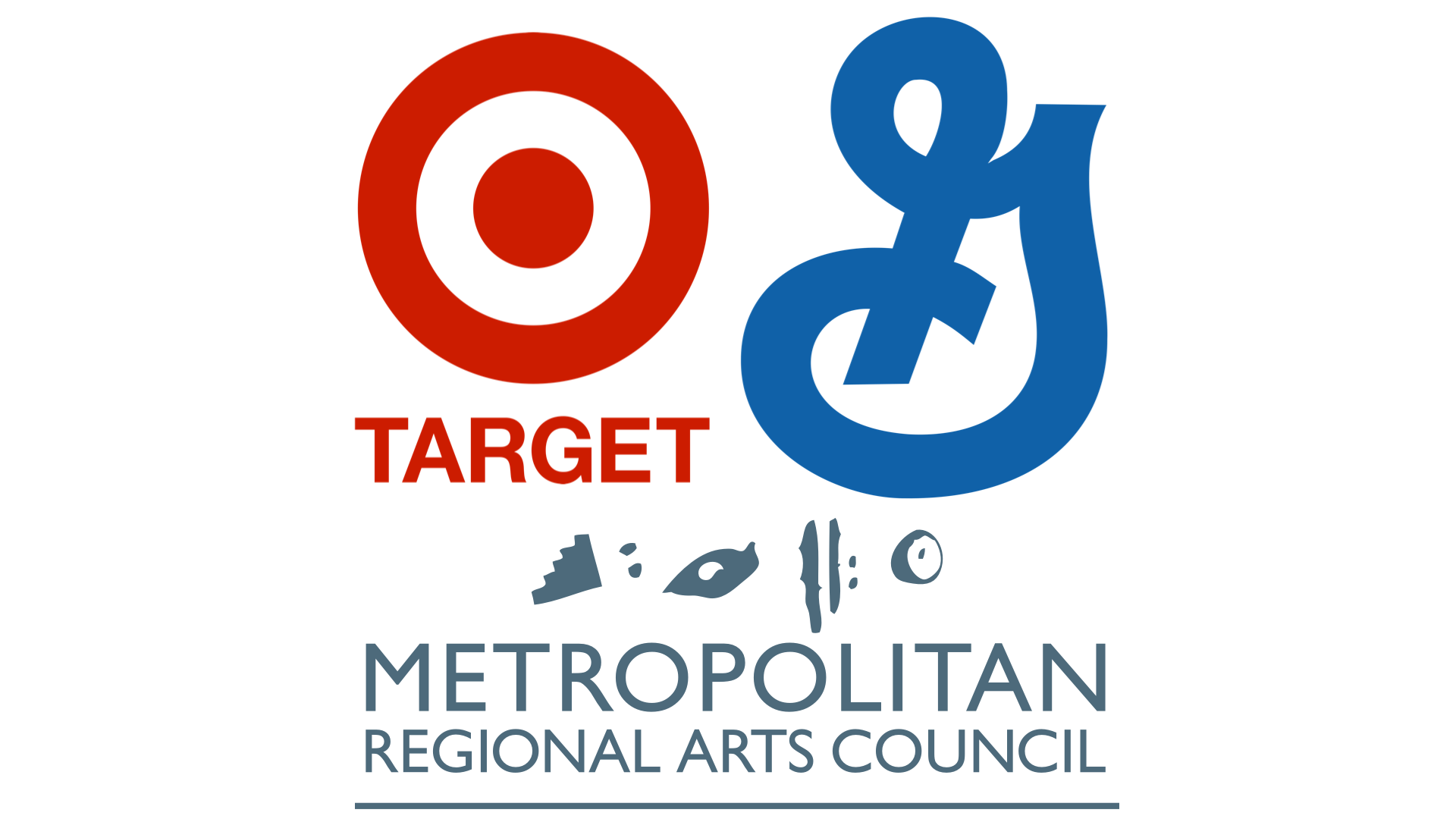Logos of Target, General Mills, and Metropolitan Regional Arts Council